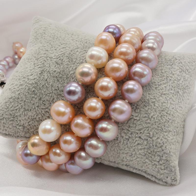 送妈妈正品包邮 天然淡水珍珠项链 近圆强光粉紫彩白色 珠宝首饰