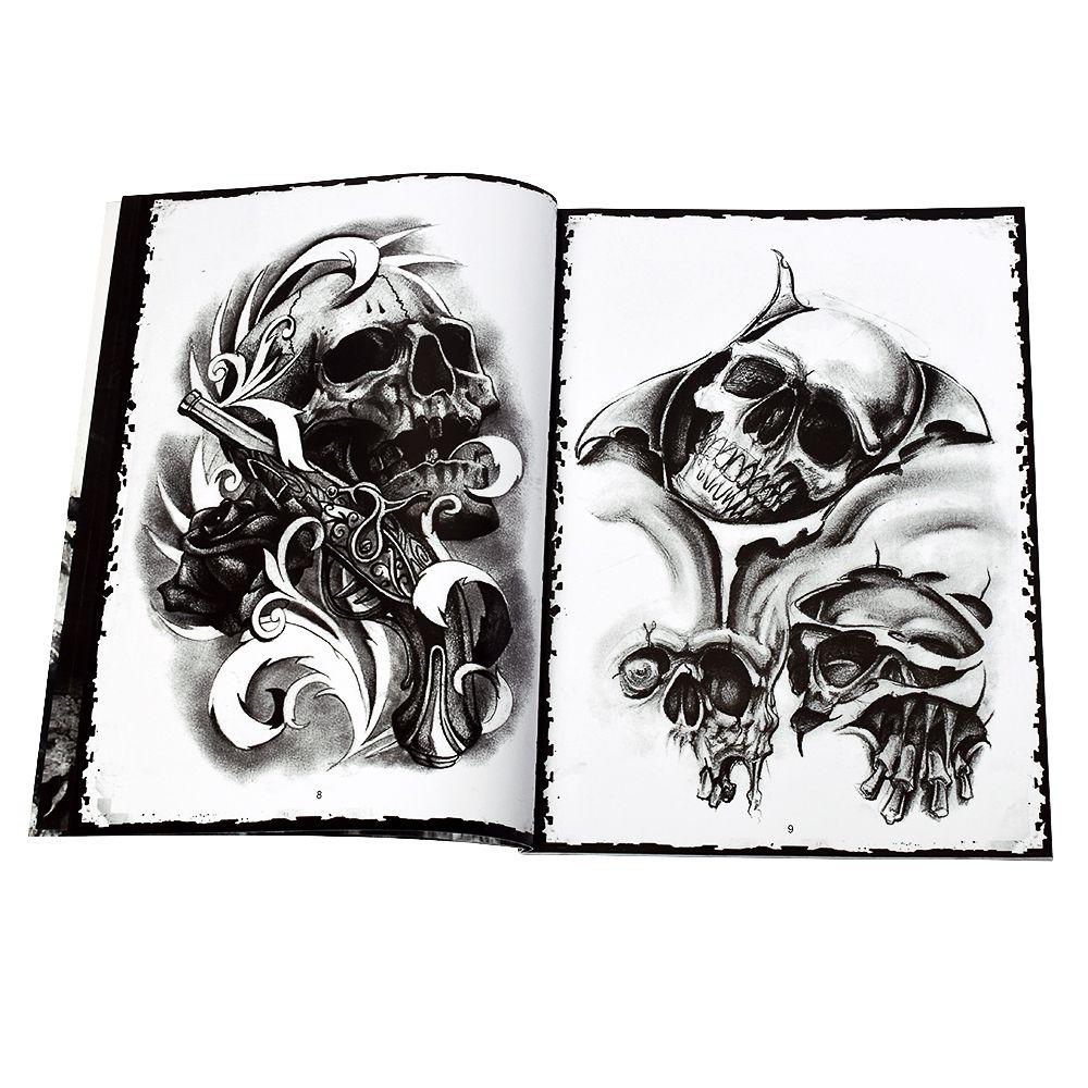 骷髅纹身书籍 美国skull 纹身书籍 刺青手稿黑白画 欧美风格图案