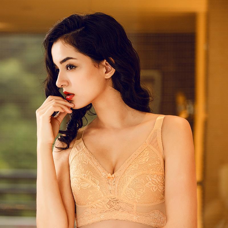 钢圈内衣mm胸罩大胸显小全罩杯海绵文胸夏季超薄