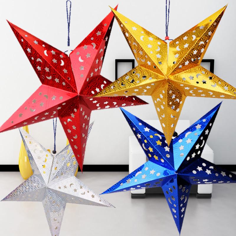 幼儿园环境节日装饰批发教室楼梯走廊星星吊饰立体闪光五角星挂饰