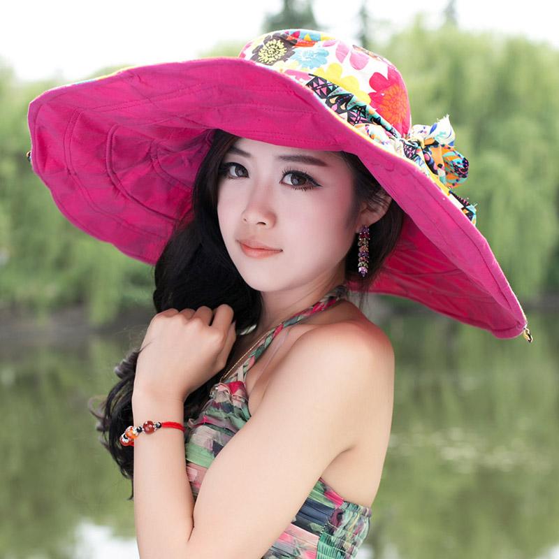 春夏天遮阳帽女夏季大沿帽凉帽防晒沙滩帽大檐帽可折叠太阳帽子潮