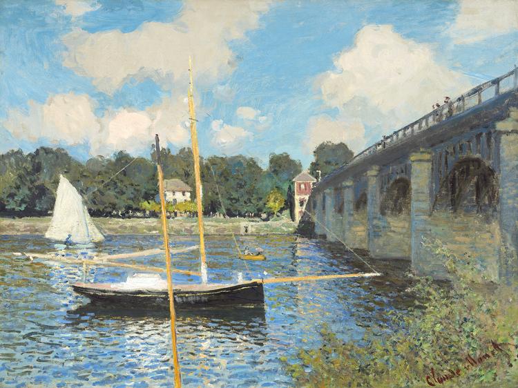 莫奈 阿让特伊的桥 风景油画经典无框画壁画印象派大师monet画芯