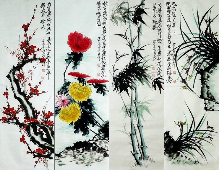 平民画院手绘字画Y121203B清雨点三尺国画梅兰竹菊四条屏105 33cm