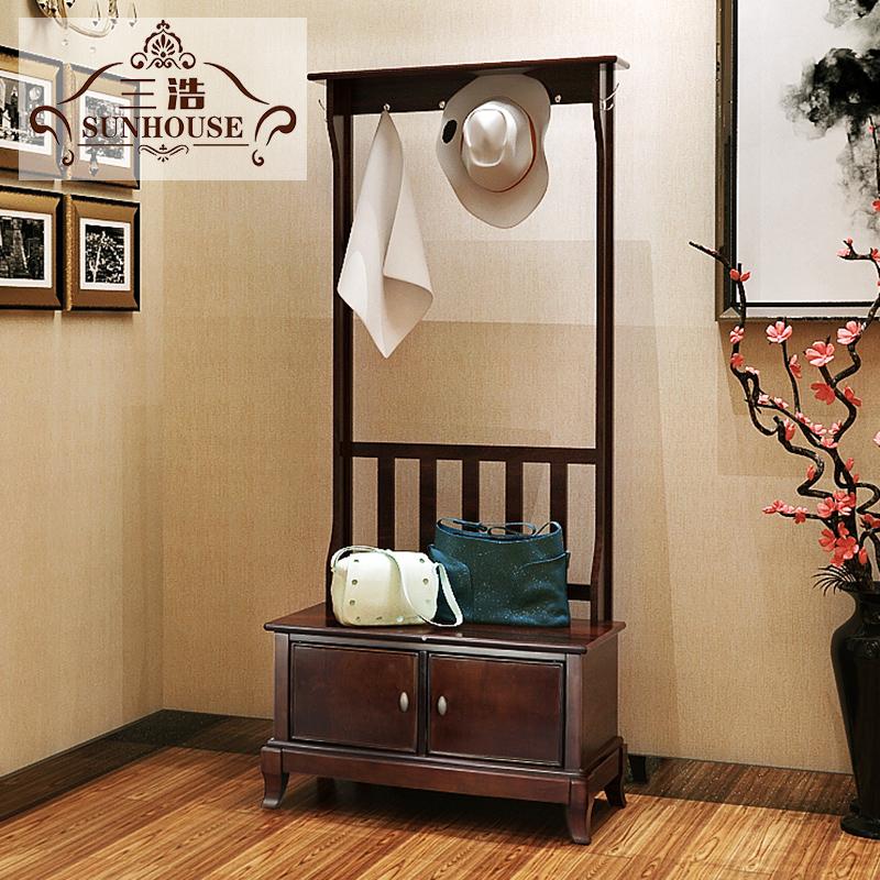 美式衣帽架落地实木挂衣架玄关衣帽柜换鞋凳简约鞋柜