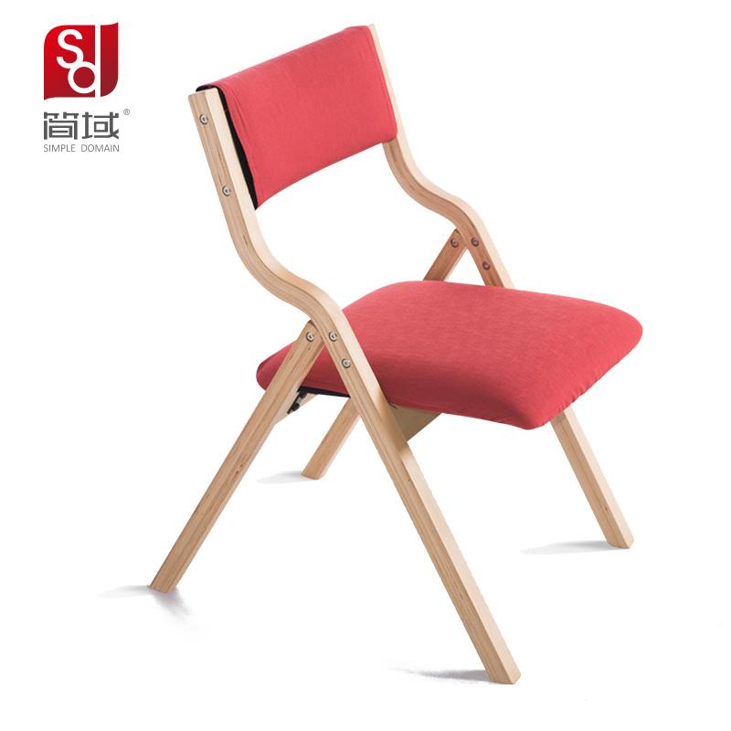 简域折叠椅家用实木布艺欧式餐椅书桌电脑折叠椅子酒店办公靠背椅
