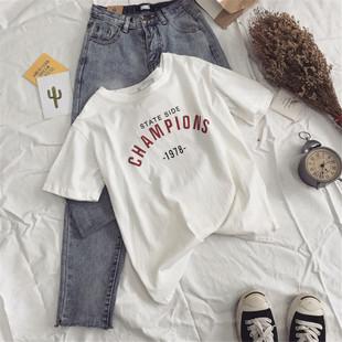 2017白色t恤女夏装韩版新款短袖体恤学生宽松百搭半袖闺蜜上衣服