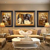 传奇手绘油画客厅沙发背景墙三联组合欧式装饰画玄关卧室现代挂画