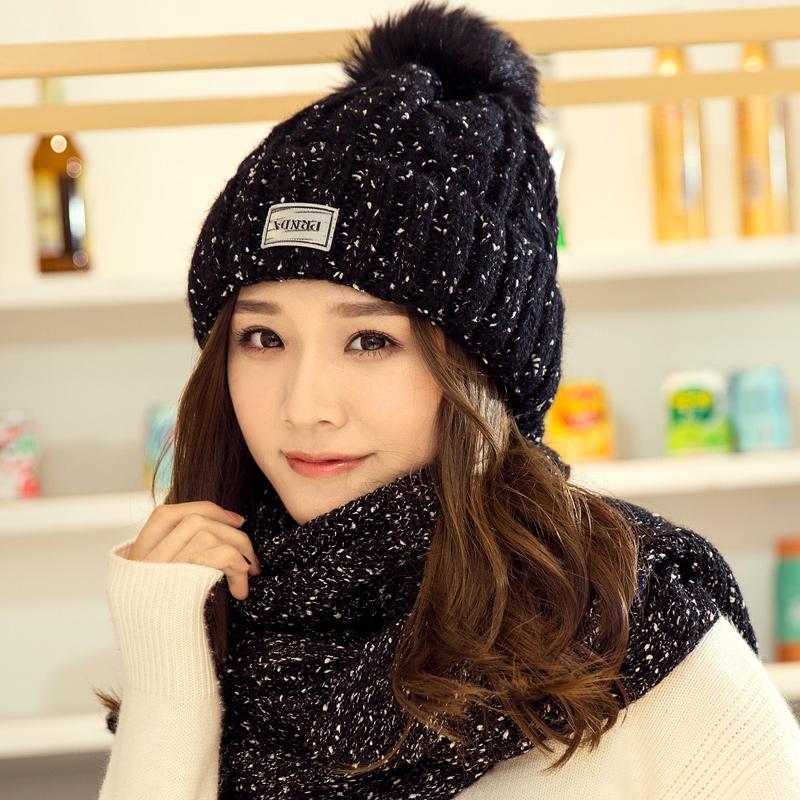 帽子女秋冬韩版加绒针织毛线帽冬天套头保暖护耳包头帽女休闲百搭