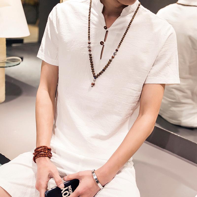 2016爆款套装男装亚麻衬衫男复古棉麻男麻衣服男夏季短袖衬衣宽松