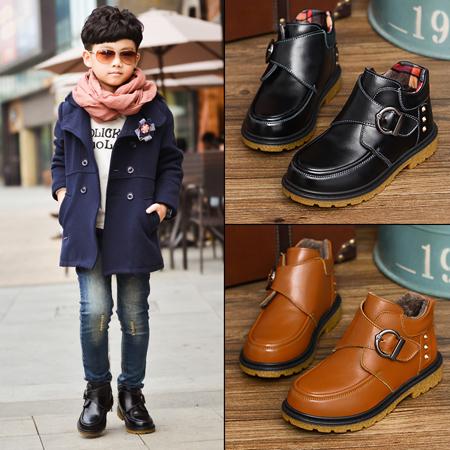 童鞋男童冬季棉鞋2016新款真皮儿童冬鞋男中大童加绒加厚短靴子潮