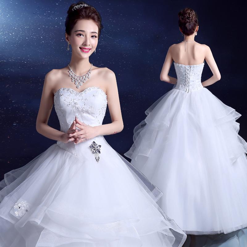 2017夏新款韩式新娘抹胸大码齐地蓬蓬裙简约孕妇高腰婚纱礼服女装
