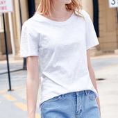 纯色竹节棉T恤女夏装新款2017韩版宽松短袖女款体恤百搭白色上衣
