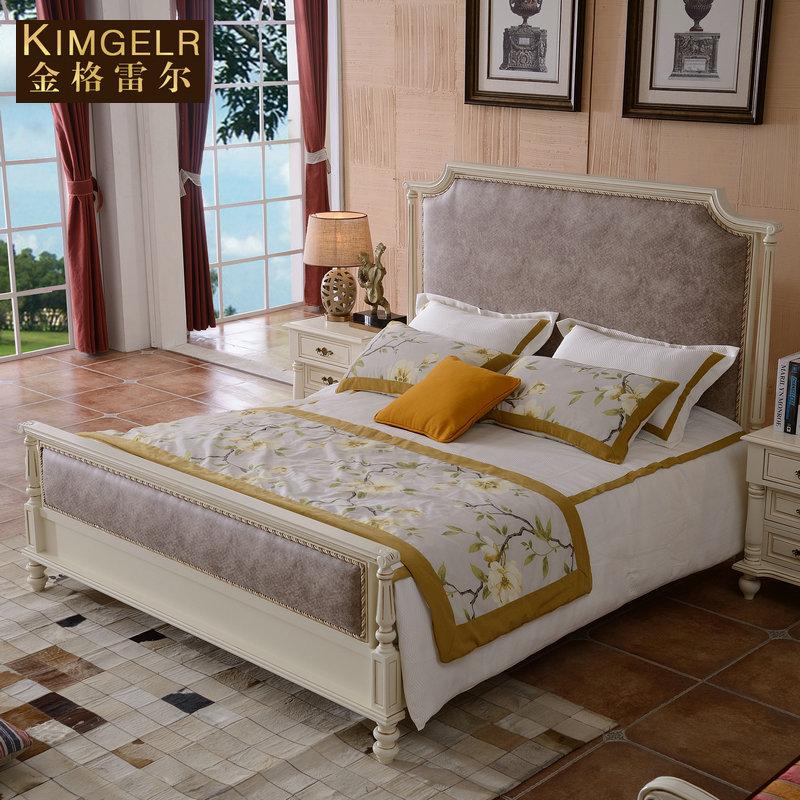 卧室家具白色美式床全实木床1.8米胡桃木床双人床1