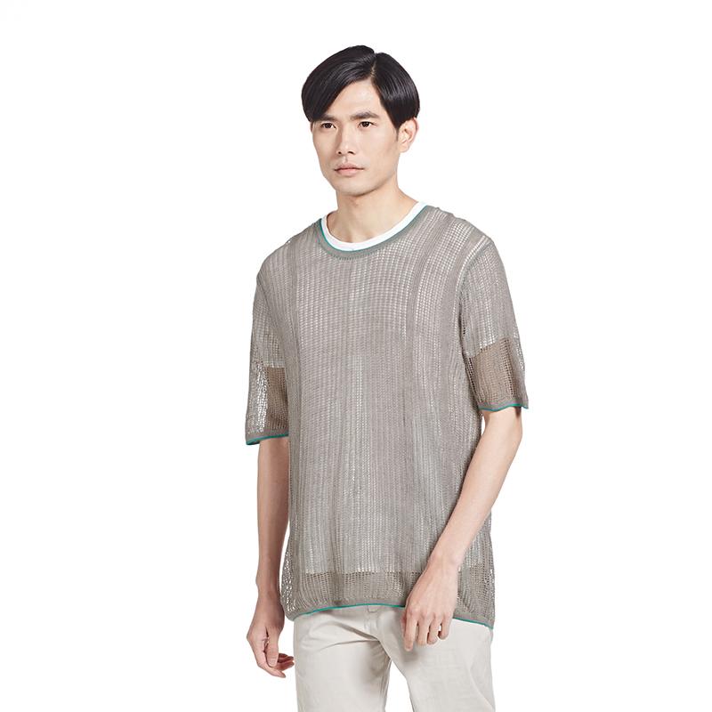 速写男装春夏宽松撞色设计短袖针织套头时尚个性男士毛衫9F382149