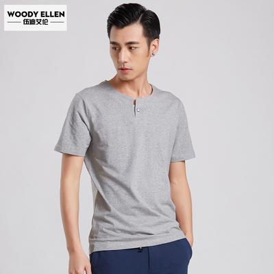 伍迪艾伦 男士短袖t恤 男夏季纯色v领体恤男装修身半袖纯棉上衣服