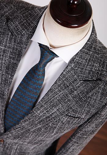 韩国直邮代购男装春装EU潮男西装套装英伦格纹羊毛修身西服套装男