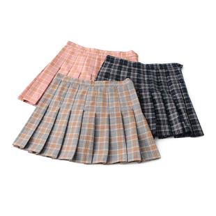 2017秋冬学院风格子高腰修身半身裙 百褶裙 裤裙 裙子短裙女
