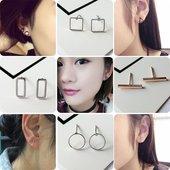 韩国小饰品简约圆形几何三角形立方体耳钉时尚女气质日韩耳环耳饰