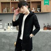 2017春季新款男士外套中长款韩版修身风衣男装青年连帽春装夹克潮