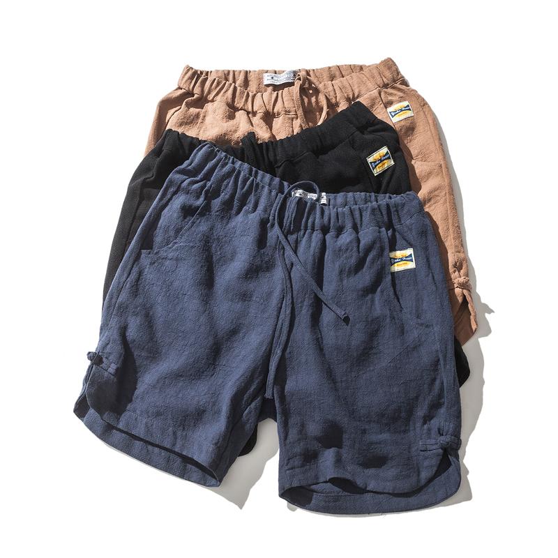 亚麻短裤沙滩夏季国风纯色韩版棉麻男装休闲五分