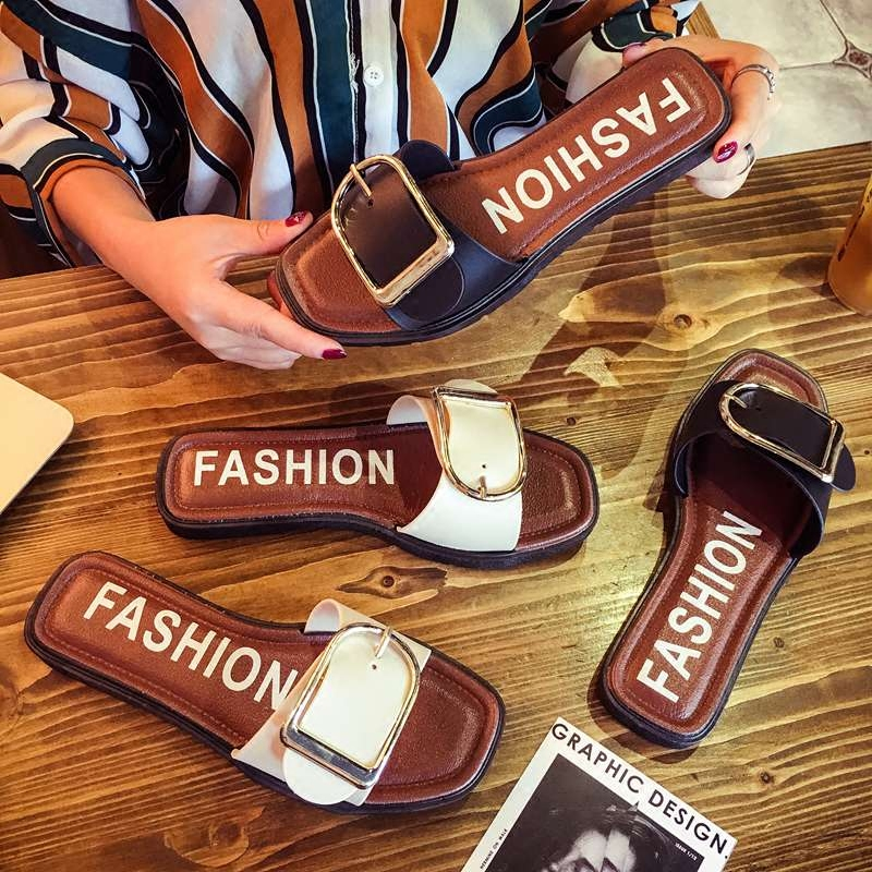 一字拖沙滩拖鞋时尚扣子夏季欧美金属防滑室外皮带扣