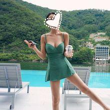 温泉泳装女保守小胸聚拢韩国小清新显瘦性感遮肚裙式连体游泳衣女