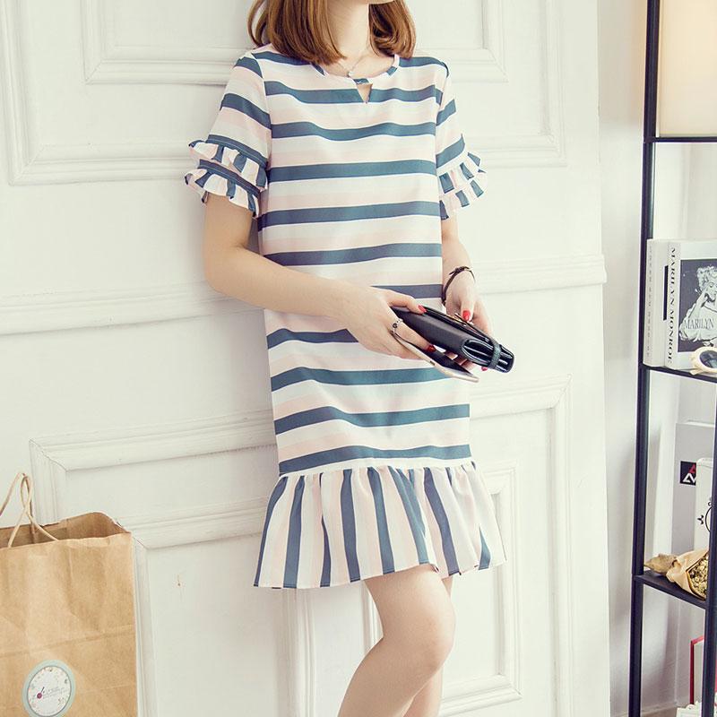 【天天特价】韩版宽松荷叶边裙短袖条纹中长款雪纺连衣裙女清仓