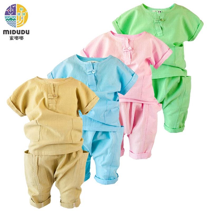 夏装男童儿童夏季背心纯色纯棉童装宝宝短袖女童套装