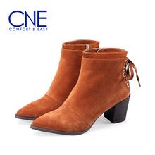 CNE 女鞋女靴高跟尖头粗跟短靴 7T68674图片