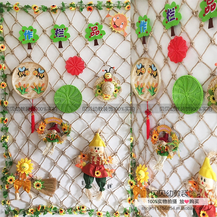 幼儿园装饰麻绳织网装饰背景墙饰农家风渔网编织网品