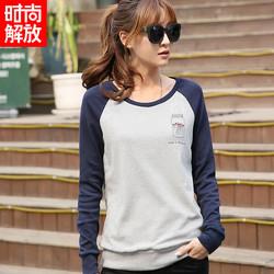 春秋新品韩版长袖t恤女装宽松大码加绒打底衫学生运动拼接上衣棉