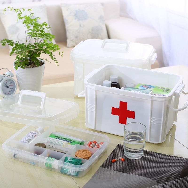【送药盒】沃之沃大号家用药箱 家庭用医药箱药品多层急救箱塑料