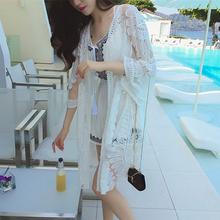 新款 波西米亚度假长款沙滩裙 比基尼开衫雪纺罩衫泳衣披纱防晒衣