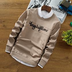 夏季新款长袖圆领T恤男装日系修身帅气字母卫衣学生潮牌打底衫