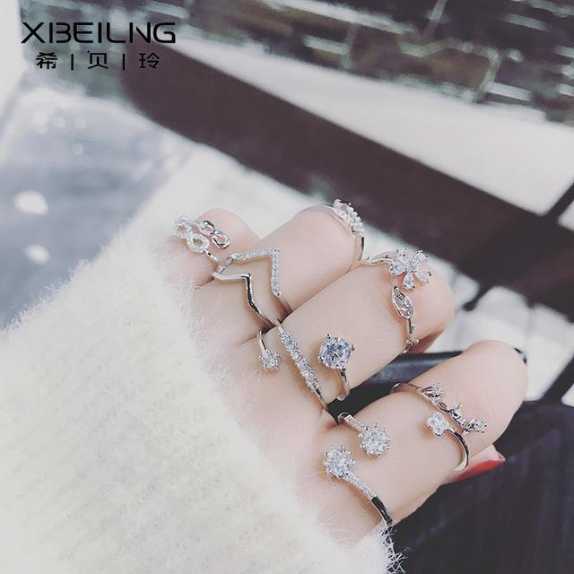 潮人食指指环小饰品 日韩时尚 饰戒指女个性 韩国百搭镶钻锆石开口装