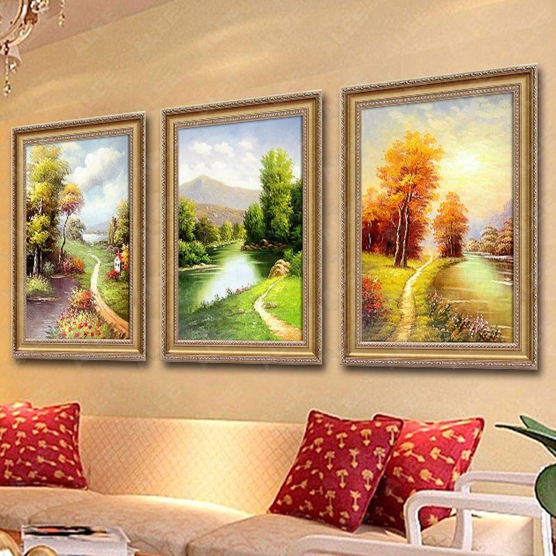 山水纯手绘欧式三联幅四装饰画客厅沙发背景墙壁挂画