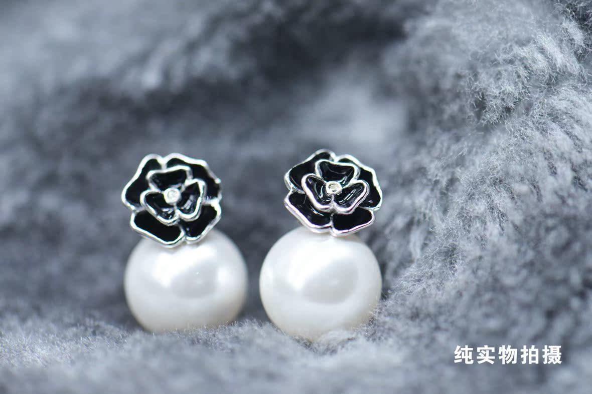 香港福金祥珠宝首饰 玫瑰珍珠耳钉 纯银耳饰耳坠 气质甜美时尚
