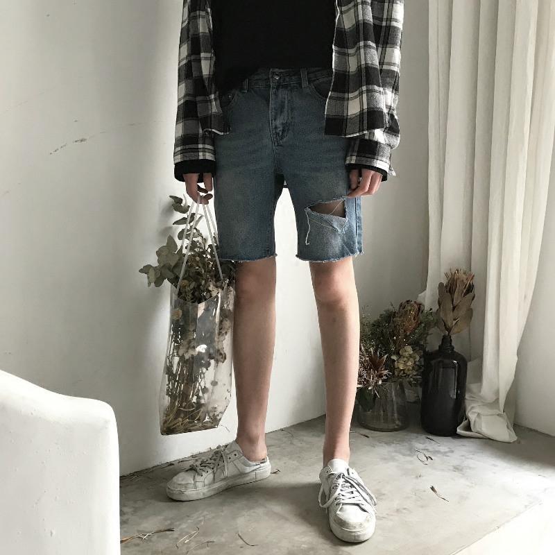 【JM】自制 推荐款 复古原色洗水 蓝色破洞宽松直筒牛仔短裤男女