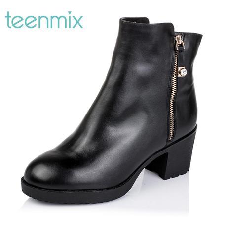 天美意冬季专柜同款时尚休闲舒适粗跟牛皮革女短靴6VF46DD5商品大图