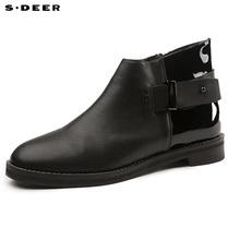 sdeer圣迪奥2019春装酷感漆皮低帮女士短靴S16383993图片