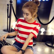 夏季韩版条纹T恤女短袖上衣服夏装宽松休闲体恤学生bf半袖打底衫