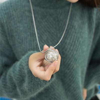 铁丝网珍珠球时尚水晶项链韩国秋冬装饰配饰饰品长款毛衣链女士