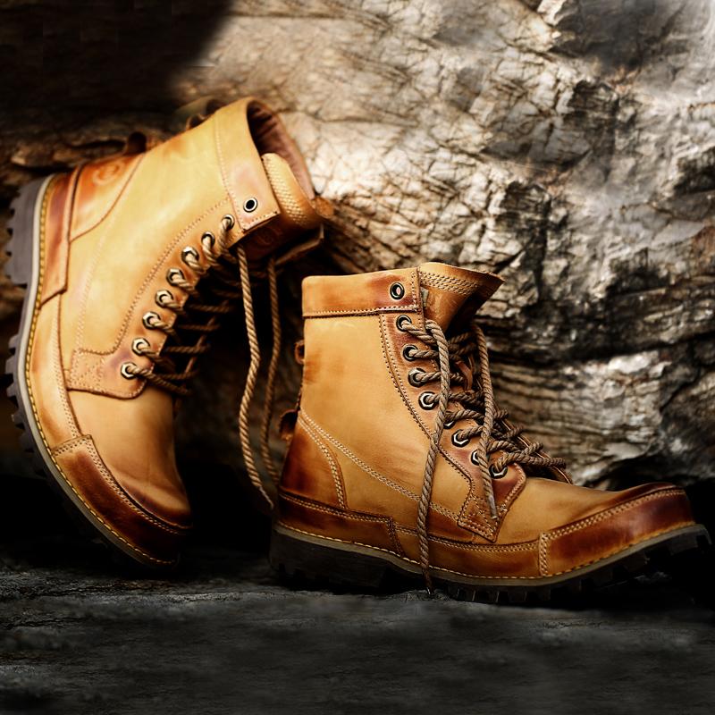 头层牛皮英伦风潮流马丁靴皮靴休闲男靴低筒工装短靴秋冬流行男鞋