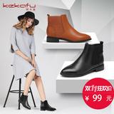 珂卡芙冬季短靴女平底尖头马丁靴女靴英伦风切尔西靴子学生骑士靴