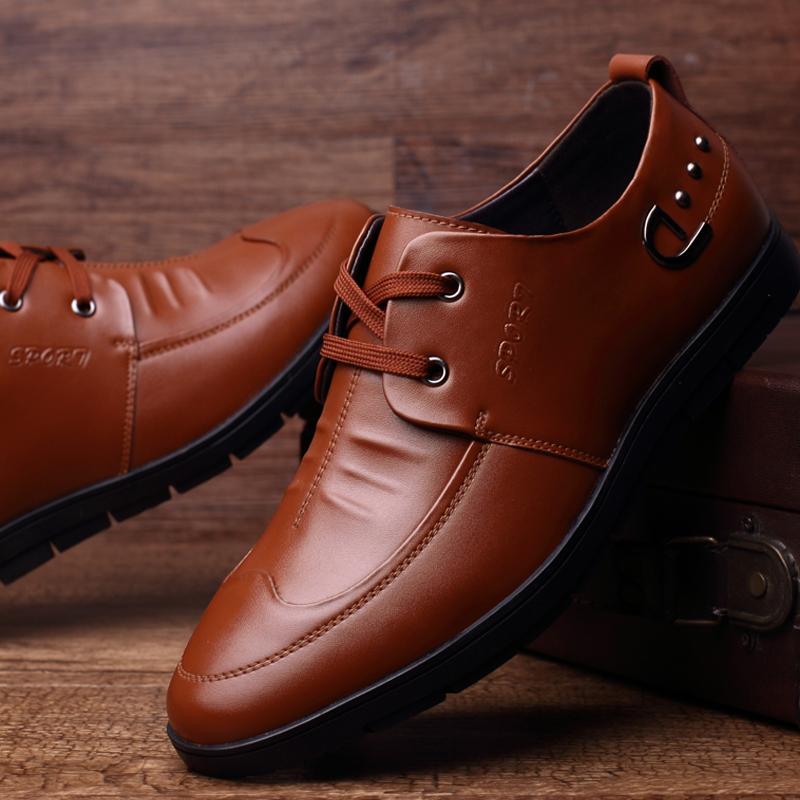 春秋季隐形内增高皮鞋真皮商务休闲流行男鞋增高鞋子头层牛皮