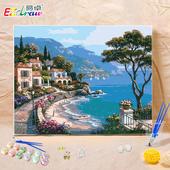 易卓 diy数字油画客厅风景手工数码水彩画成人手绘填色装饰油彩画