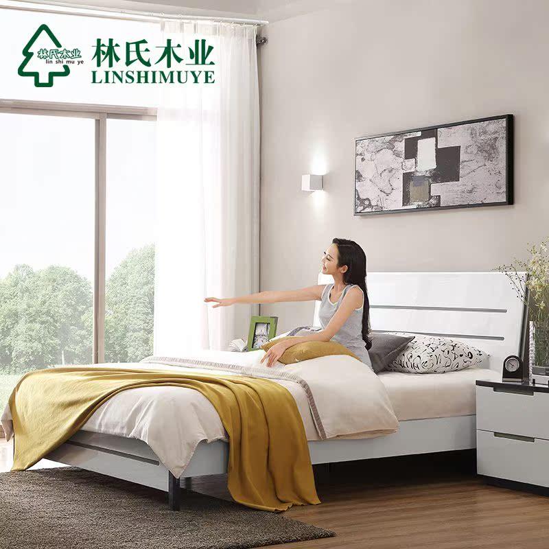 热卖林氏木业简约现代卧室双人床1.8米 床头柜床垫组合成套家具BI