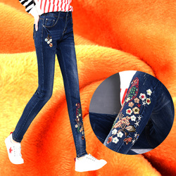 加绒牛仔裤女民族风秋冬季保暖修身显瘦铅笔裤弹力加厚刺绣小脚裤