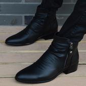 休闲鞋 马丁靴男 男鞋 男士 短靴内增高尖头皮靴时尚 韩版 英伦高帮皮鞋