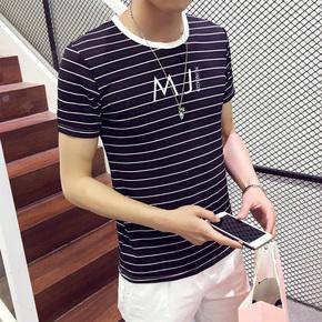 夏季男士韩版上衣服圆领条纹短袖T恤青少年日系半袖潮男装打底衫